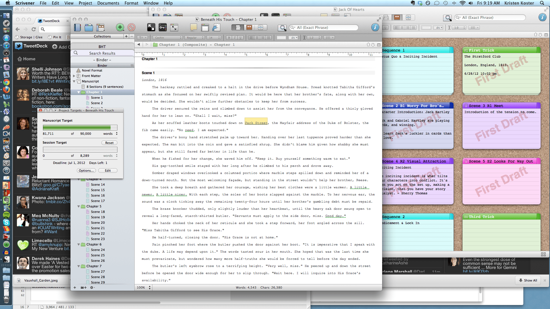 Screenshot of Scrivener and my desktop writing space.
