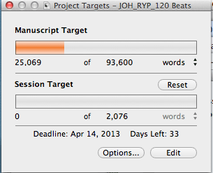 Target Word Count: Screen capture of word meter and deadlines in Scrivener's Project Target window.