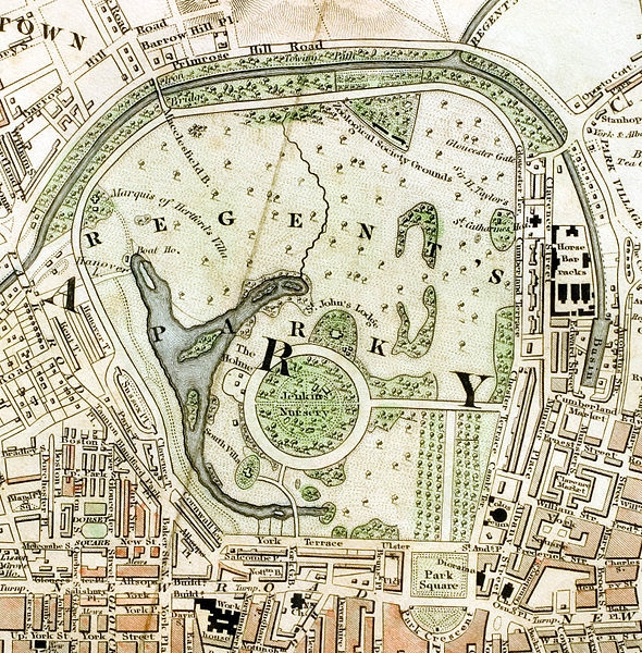 "London Parks: The Regent's Park section of ""Improved map of London for 1833, from Actual Survey. Engraved by W. Schmollinger, 27 Goswell Terrace"","