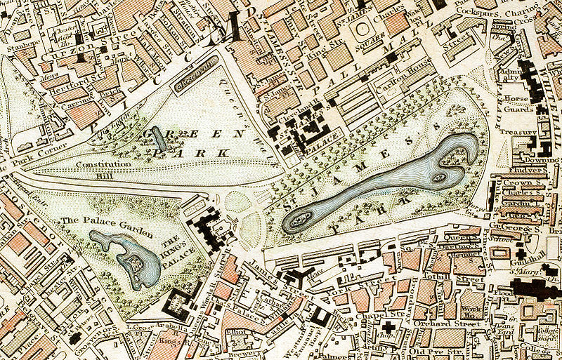 "London Parks: Green Park, St. James's Park and Buckingham Palace section of ""Improved map of London for 1833, from Actual Survey. Engraved by W. Schmollinger, 27 Goswell Terrace"